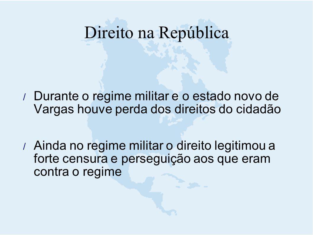 Direito na República Durante o regime militar e o estado novo de Vargas houve perda dos direitos do cidadão.