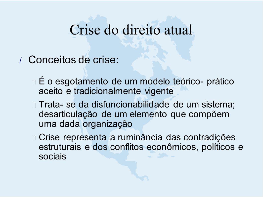 Crise do direito atual Conceitos de crise: