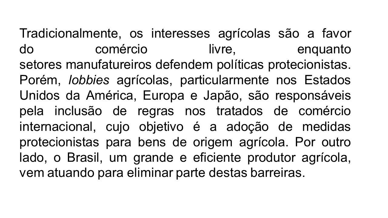 Tradicionalmente, os interesses agrícolas são a favor do comércio livre, enquanto setores manufatureiros defendem políticas protecionistas.