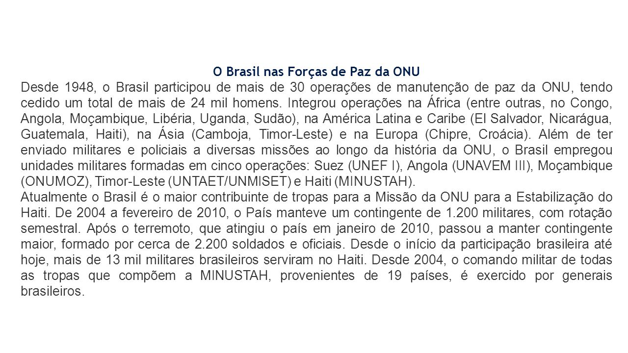 O Brasil nas Forças de Paz da ONU