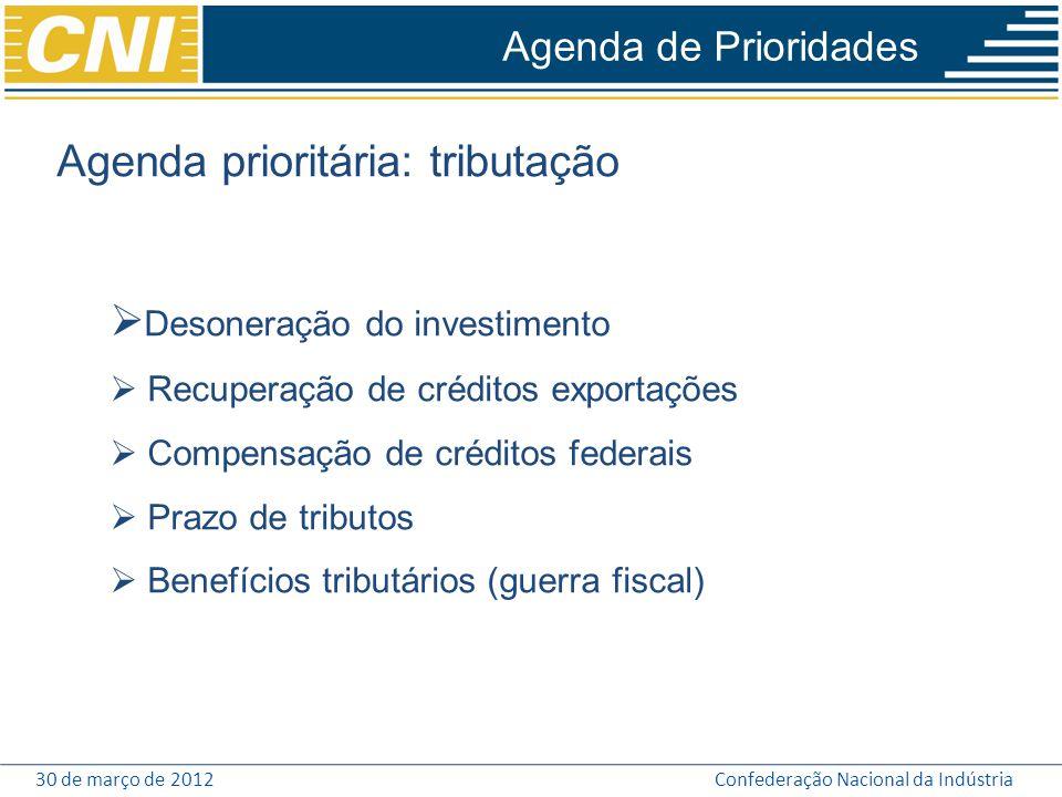 Agenda prioritária: tributação