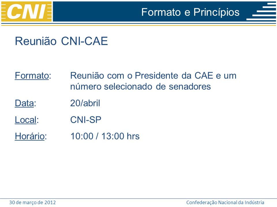 Reunião CNI-CAE Formato e Princípios