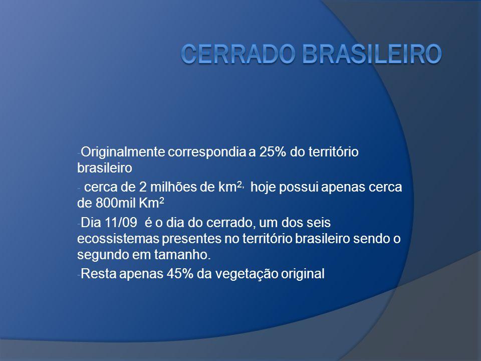 Cerrado brasileiro Originalmente correspondia a 25% do território brasileiro. cerca de 2 milhões de km2, hoje possui apenas cerca de 800mil Km2.
