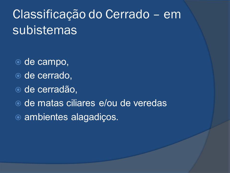 Classificação do Cerrado – em subistemas