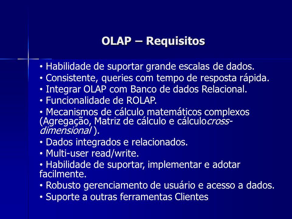 OLAP – Requisitos Habilidade de suportar grande escalas de dados.