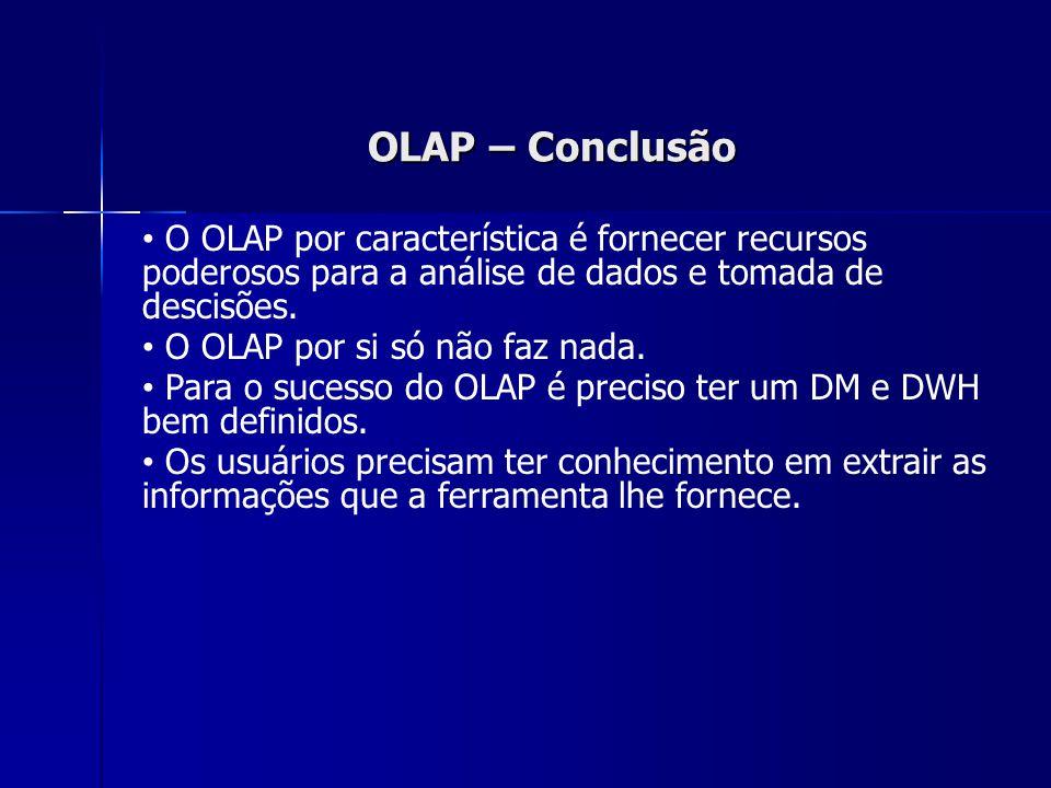 OLAP – Conclusão O OLAP por característica é fornecer recursos poderosos para a análise de dados e tomada de descisões.