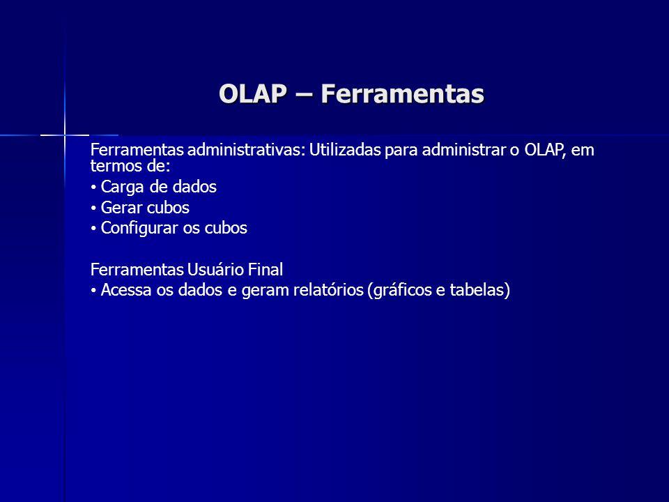 OLAP – Ferramentas Ferramentas administrativas: Utilizadas para administrar o OLAP, em termos de: Carga de dados.