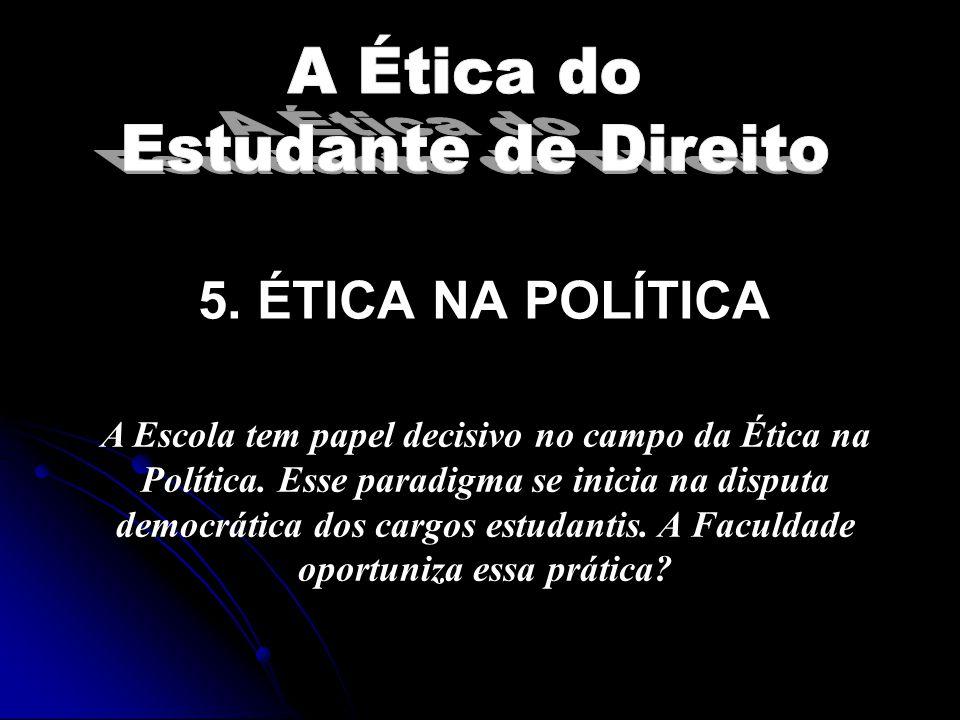 5. ÉTICA NA POLÍTICA A Ética do Estudante de Direito