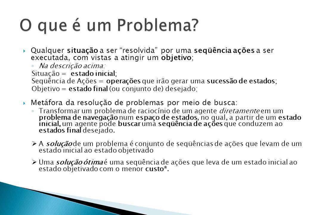 O que é um Problema Qualquer situação a ser resolvida por uma seqüência ações a ser executada, com vistas a atingir um objetivo;