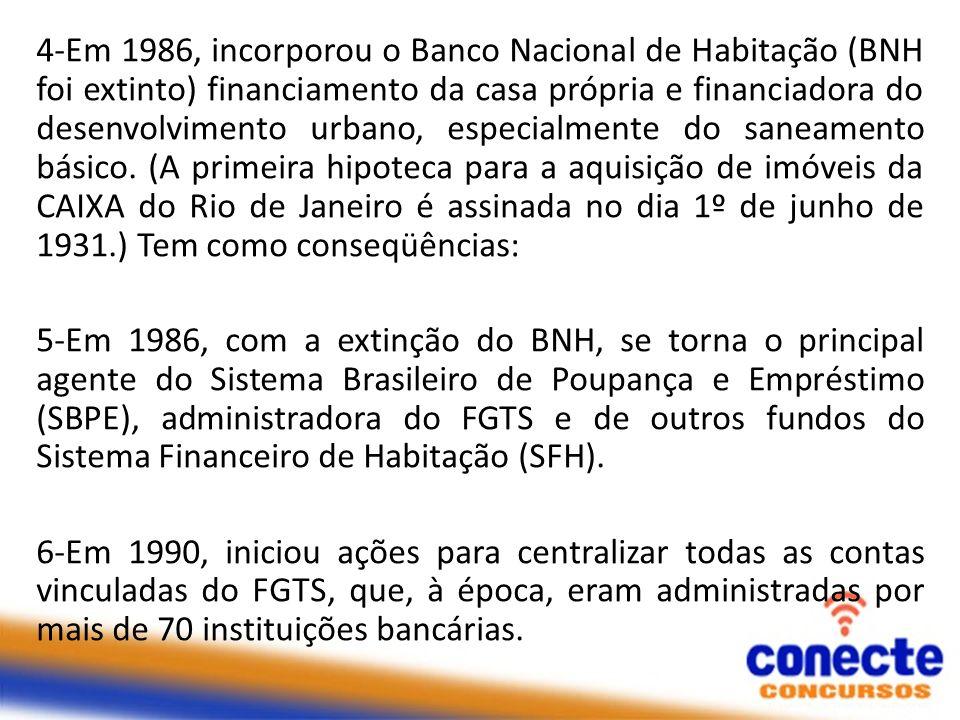 4-Em 1986, incorporou o Banco Nacional de Habitação (BNH foi extinto) financiamento da casa própria e financiadora do desenvolvimento urbano, especialmente do saneamento básico. (A primeira hipoteca para a aquisição de imóveis da CAIXA do Rio de Janeiro é assinada no dia 1º de junho de 1931.) Tem como conseqüências:
