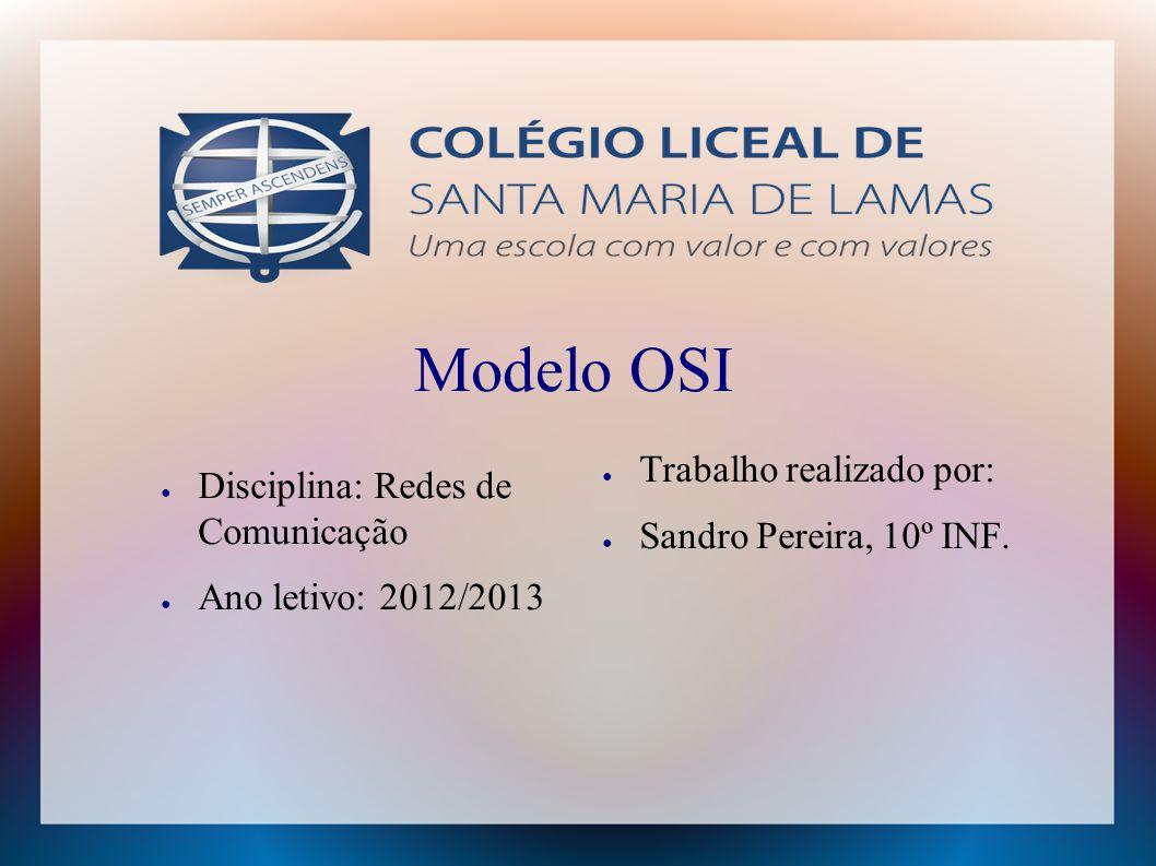 Modelo OSI Trabalho realizado por: Disciplina: Redes de Comunicação