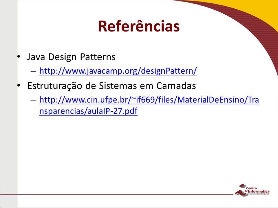 Referências Java Design Patterns Estruturação de Sistemas em Camadas