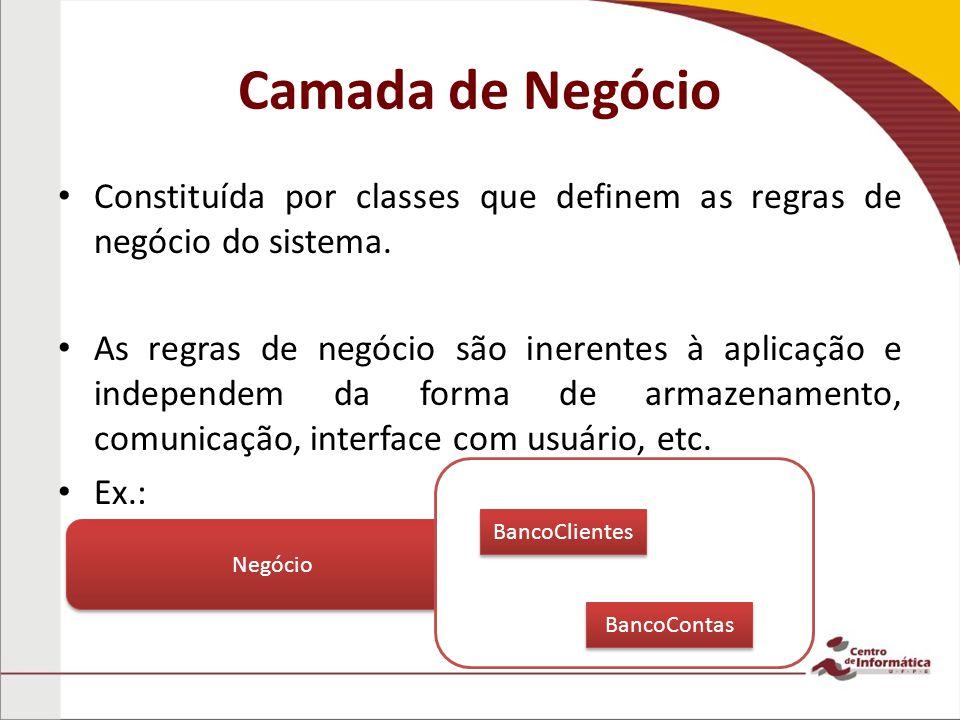 Camada de Negócio Constituída por classes que definem as regras de negócio do sistema.