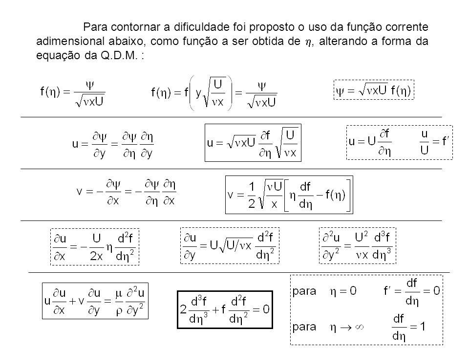 Para contornar a dificuldade foi proposto o uso da função corrente adimensional abaixo, como função a ser obtida de h, alterando a forma da equação da Q.D.M.