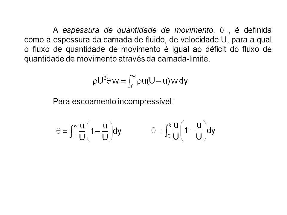 A espessura de quantidade de movimento, q , é definida como a espessura da camada de fluido, de velocidade U, para a qual o fluxo de quantidade de movimento é igual ao déficit do fluxo de quantidade de movimento através da camada-limite.