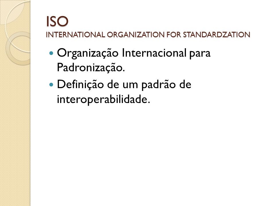 ISO INTERNATIONAL ORGANIZATION FOR STANDARDZATION