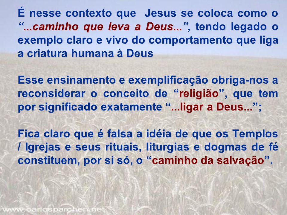 É nesse contexto que Jesus se coloca como o . caminho que leva a Deus