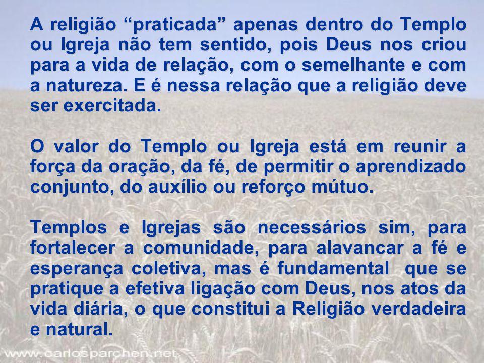 A religião praticada apenas dentro do Templo ou Igreja não tem sentido, pois Deus nos criou para a vida de relação, com o semelhante e com a natureza. E é nessa relação que a religião deve ser exercitada.