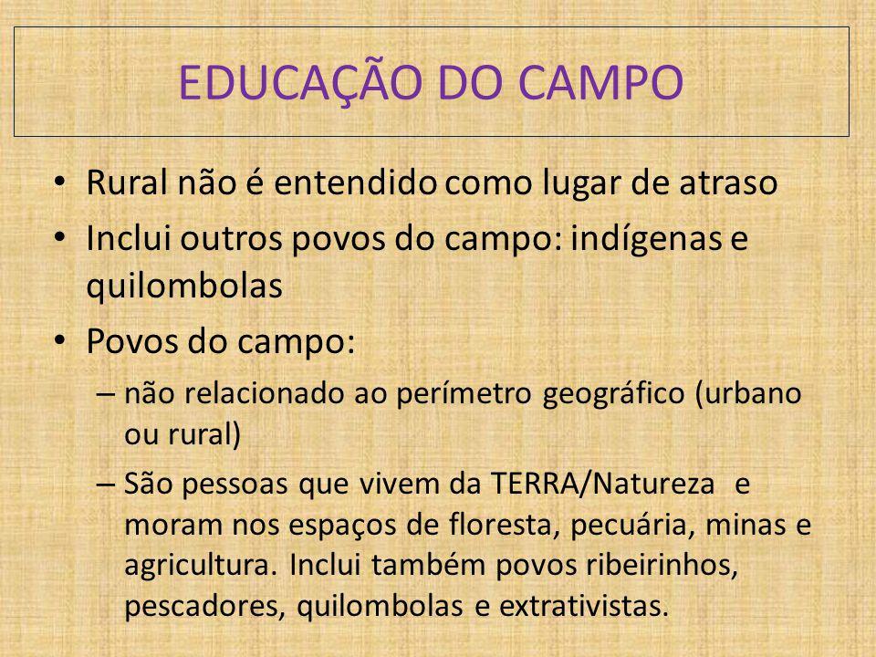 EDUCAÇÃO DO CAMPO Rural não é entendido como lugar de atraso