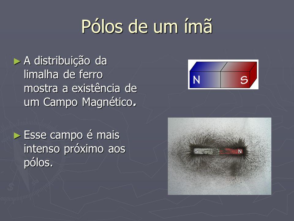 Pólos de um ímã A distribuição da limalha de ferro mostra a existência de um Campo Magnético.