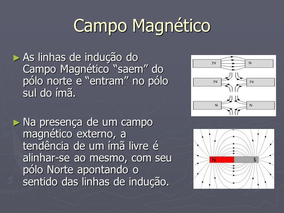 Campo Magnético As linhas de indução do Campo Magnético saem do pólo norte e entram no pólo sul do ímã.