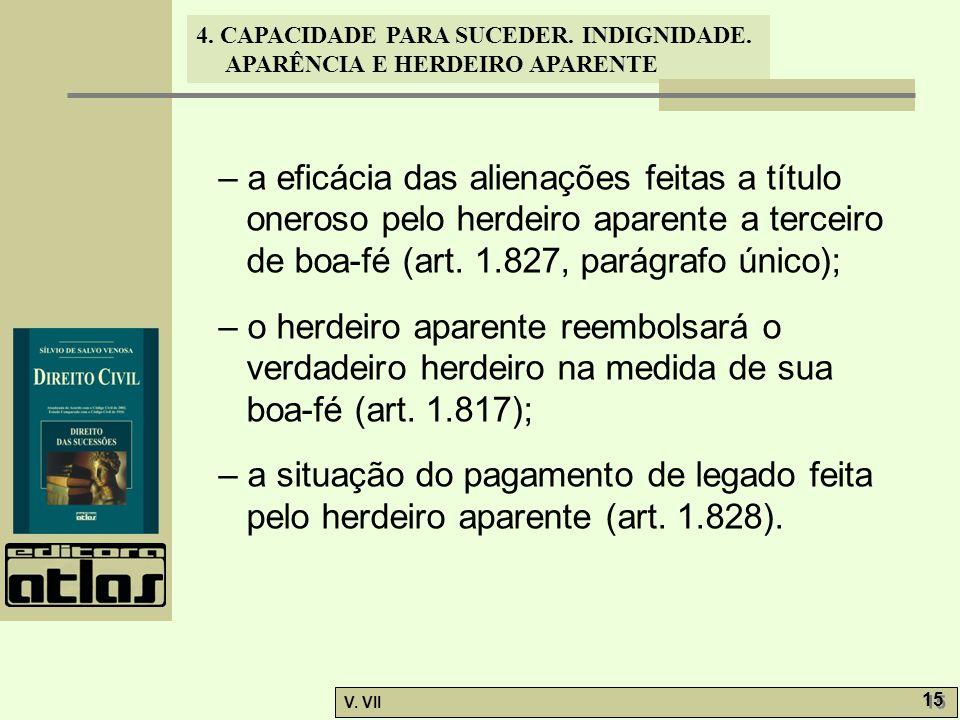 – a eficácia das alienações feitas a título oneroso pelo herdeiro aparente a terceiro de boa-fé (art. 1.827, parágrafo único);