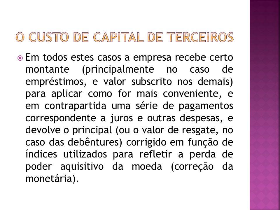O CUSTO DE CAPITAL DE TERCEIROS