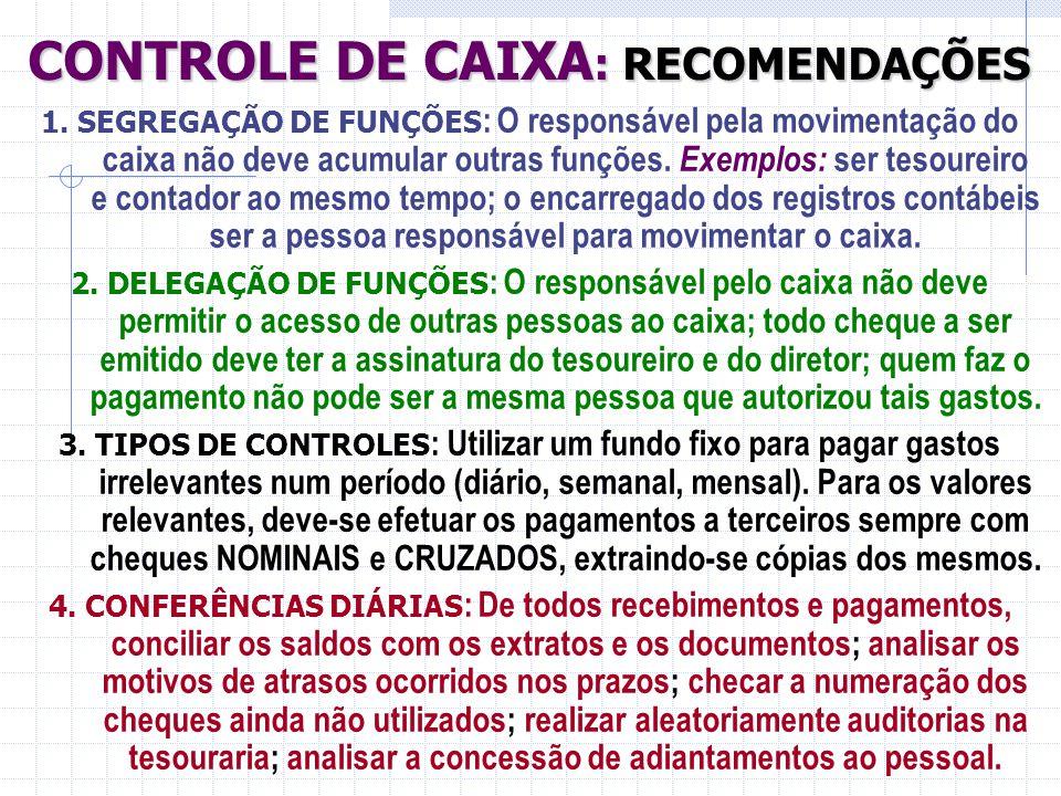CONTROLE DE CAIXA: RECOMENDAÇÕES