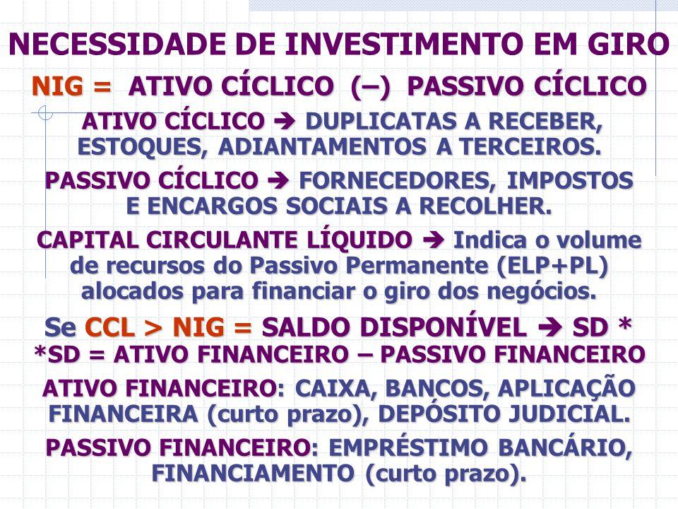 NECESSIDADE DE INVESTIMENTO EM GIRO
