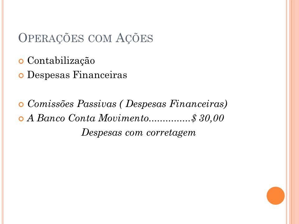 Operações com Ações Contabilização Despesas Financeiras