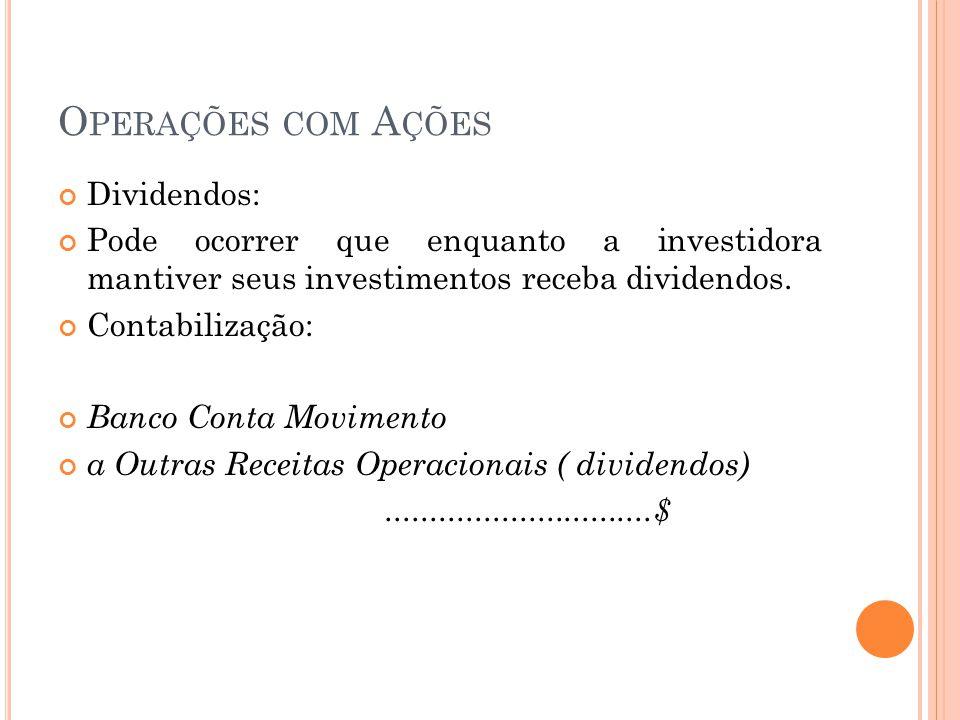 Operações com Ações Dividendos:
