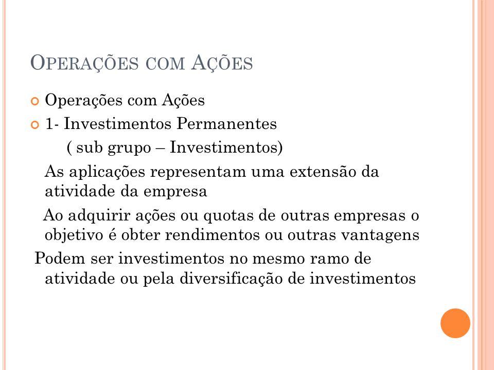Operações com Ações Operações com Ações 1- Investimentos Permanentes
