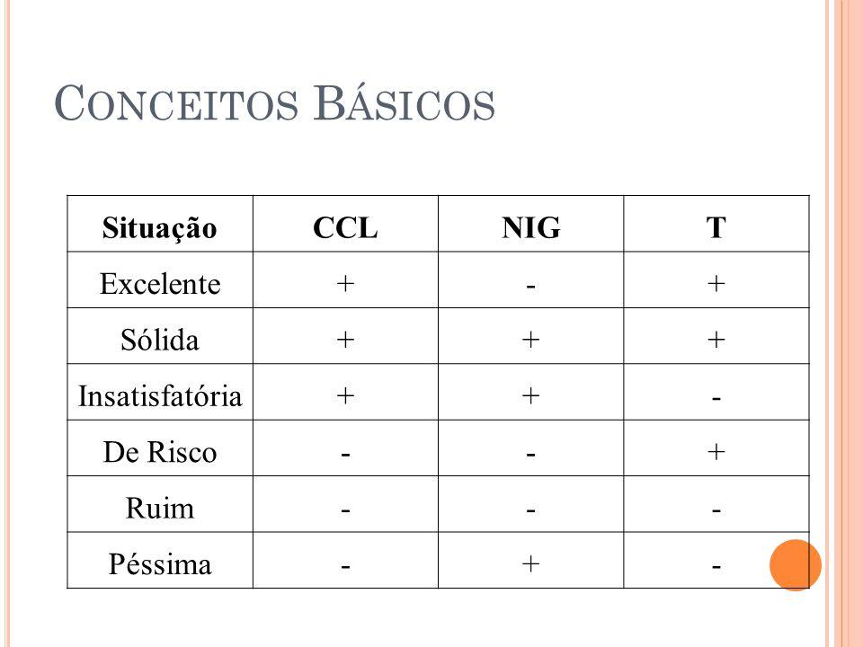 Conceitos Básicos Situação CCL NIG T Excelente + - Sólida