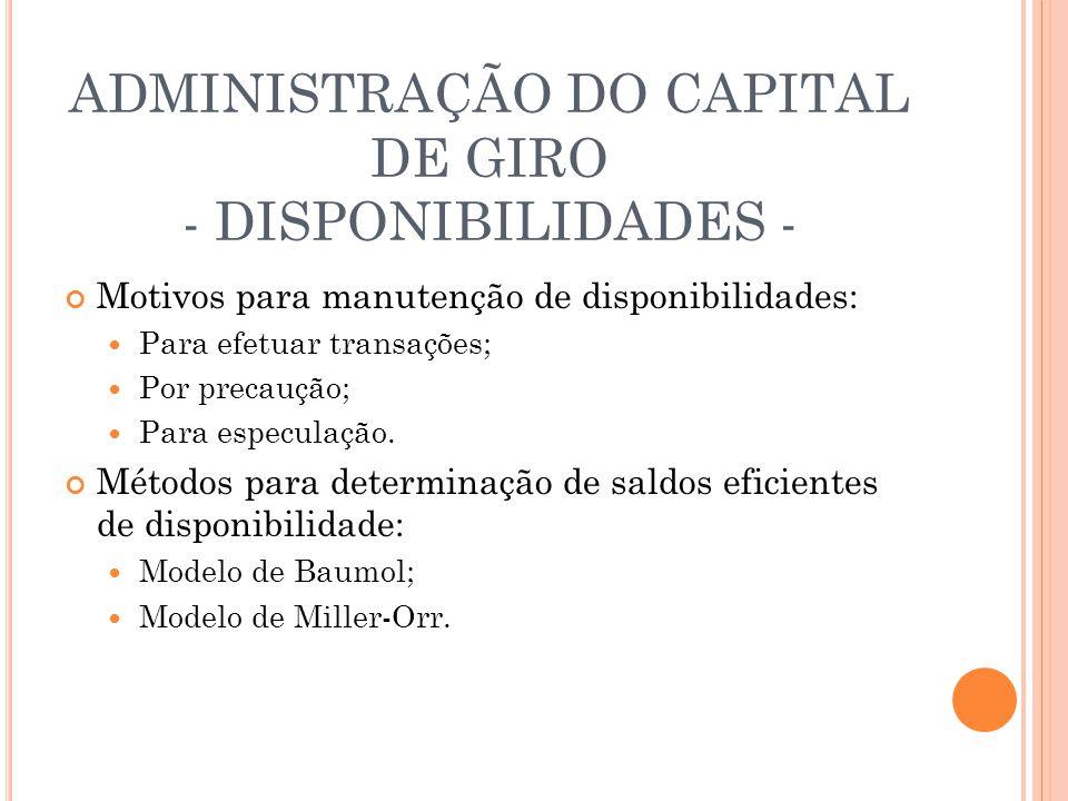 ADMINISTRAÇÃO DO CAPITAL DE GIRO - DISPONIBILIDADES -
