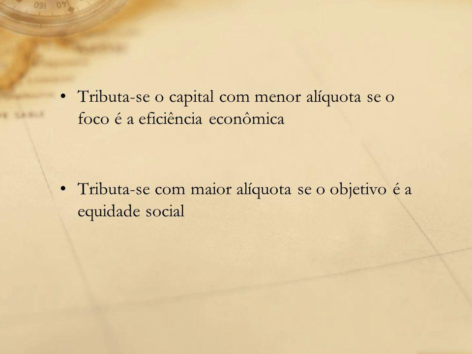 Tributa-se o capital com menor alíquota se o foco é a eficiência econômica