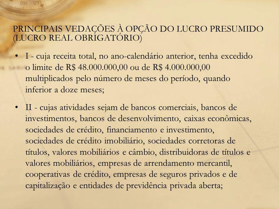PRINCIPAIS VEDAÇÕES À OPÇÃO DO LUCRO PRESUMIDO (LUCRO REAL OBRIGATÓRIO)