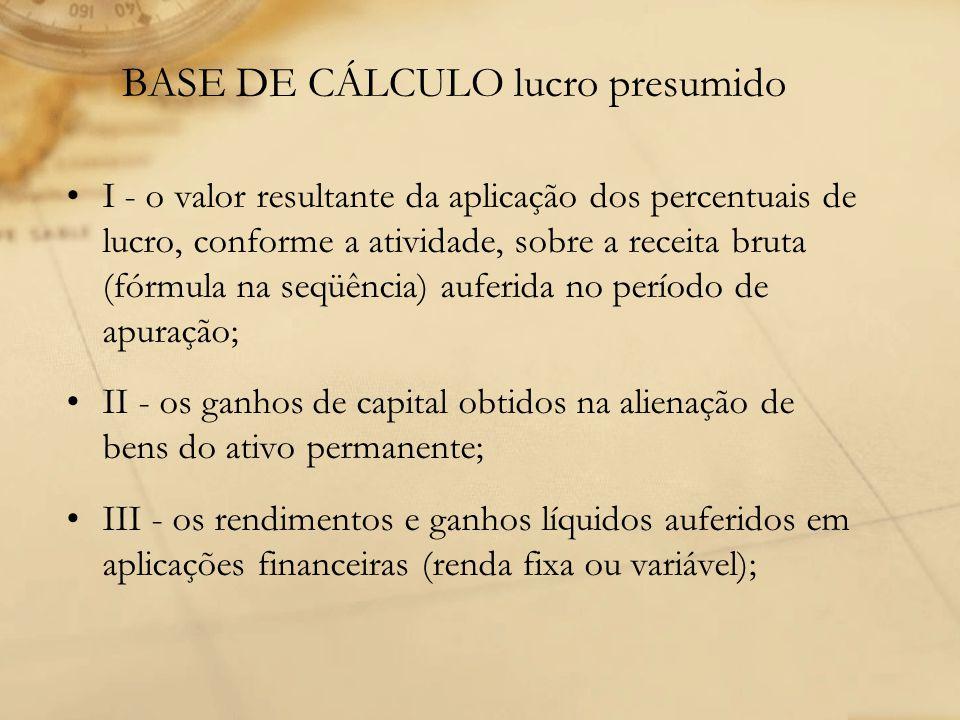 BASE DE CÁLCULO lucro presumido