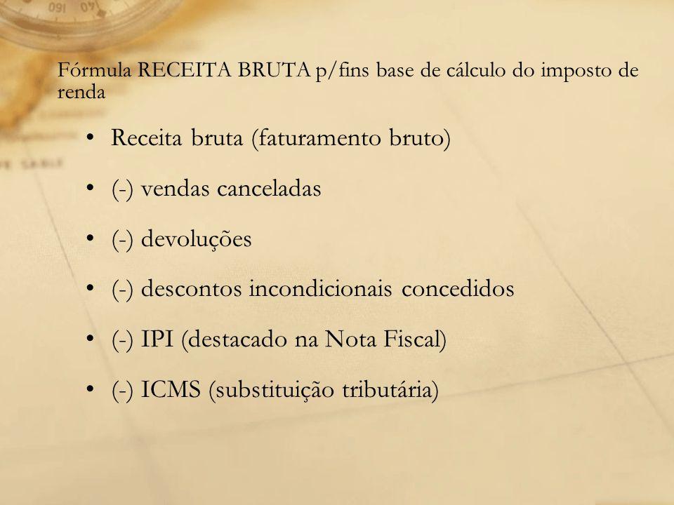Fórmula RECEITA BRUTA p/fins base de cálculo do imposto de renda