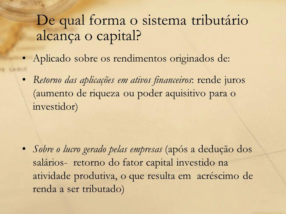 De qual forma o sistema tributário alcança o capital