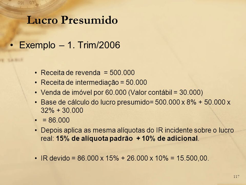 Lucro Presumido Exemplo – 1. Trim/2006 Receita de revenda = 500.000
