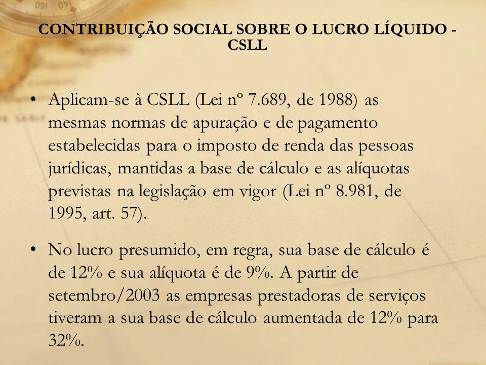 CONTRIBUIÇÃO SOCIAL SOBRE O LUCRO LÍQUIDO - CSLL