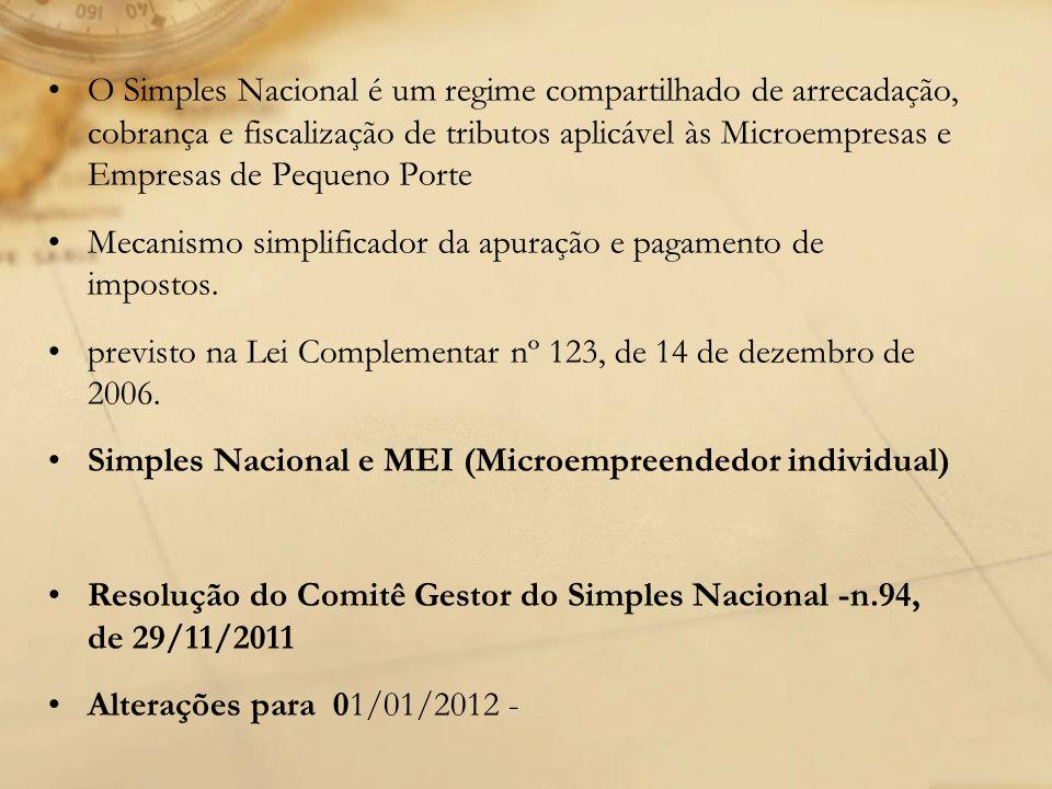 O Simples Nacional é um regime compartilhado de arrecadação, cobrança e fiscalização de tributos aplicável às Microempresas e Empresas de Pequeno Porte