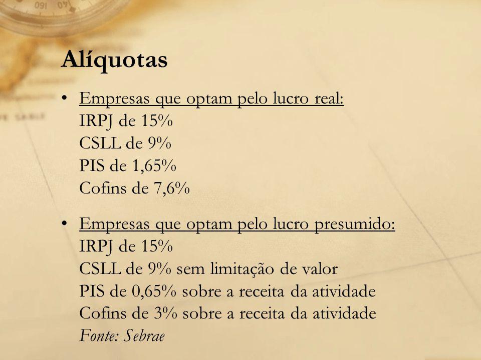 Alíquotas Empresas que optam pelo lucro real: IRPJ de 15% CSLL de 9% PIS de 1,65% Cofins de 7,6%