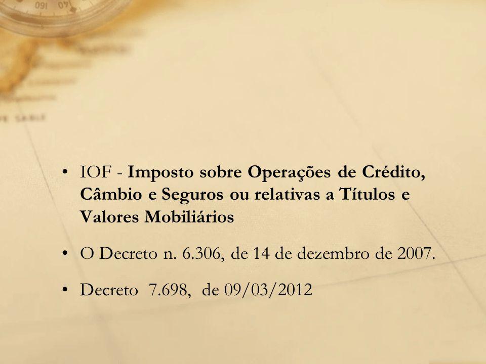 IOF - Imposto sobre Operações de Crédito, Câmbio e Seguros ou relativas a Títulos e Valores Mobiliários