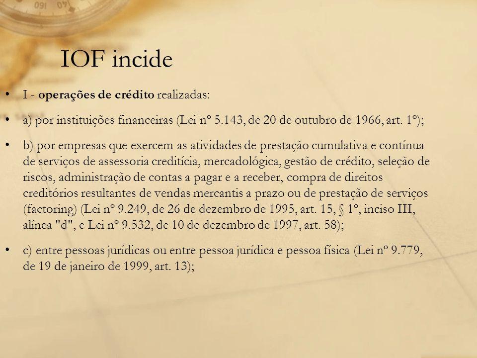 IOF incide I - operações de crédito realizadas: