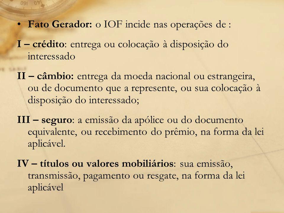Fato Gerador: o IOF incide nas operações de :