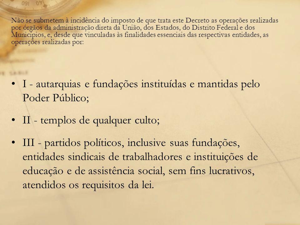 I - autarquias e fundações instituídas e mantidas pelo Poder Público;