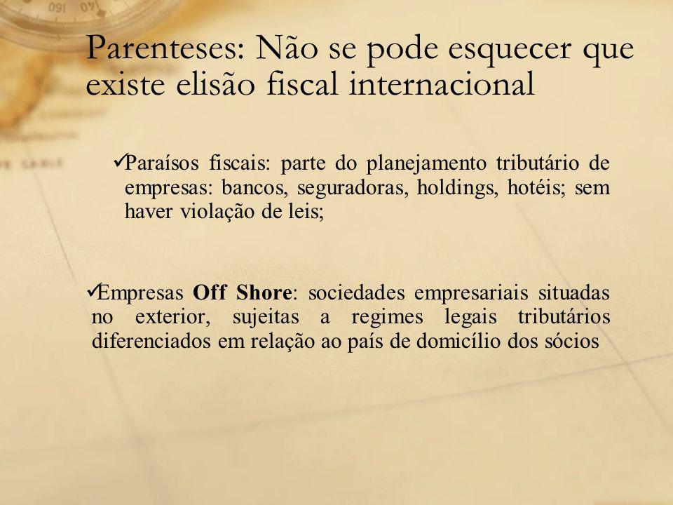 Parenteses: Não se pode esquecer que existe elisão fiscal internacional