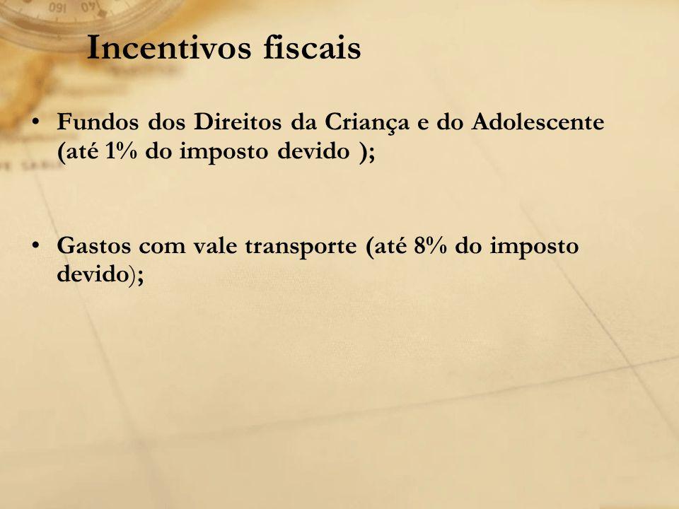 Incentivos fiscais Fundos dos Direitos da Criança e do Adolescente (até 1% do imposto devido );