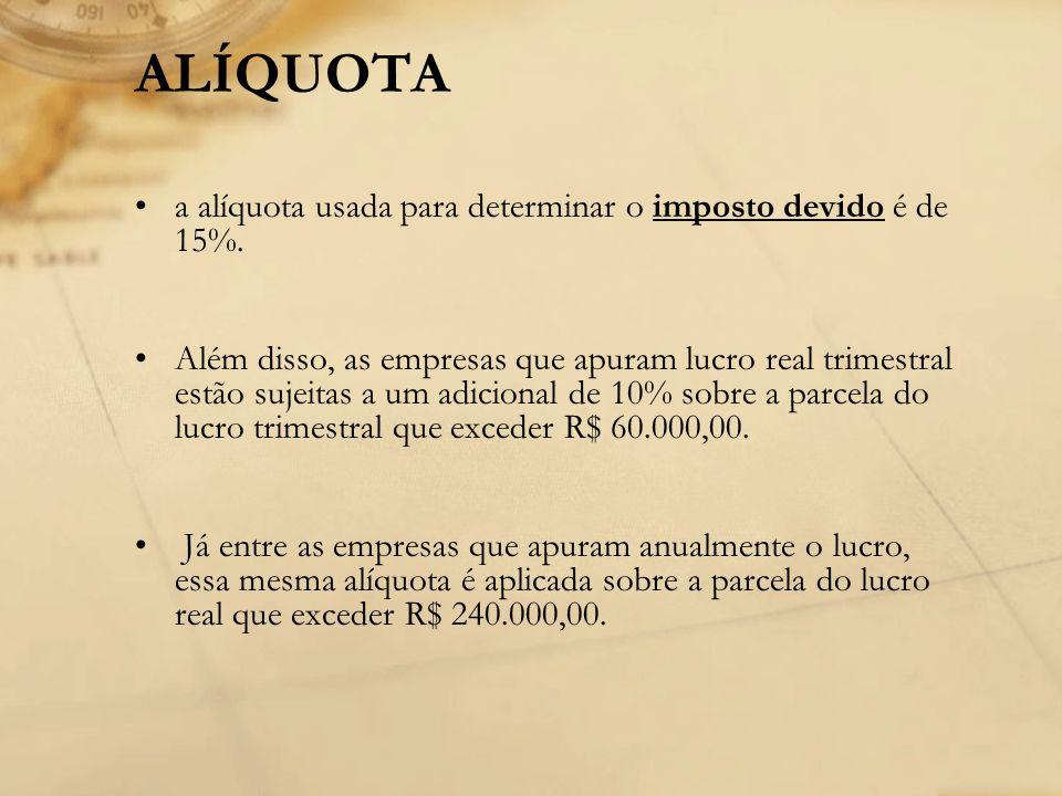 ALÍQUOTA a alíquota usada para determinar o imposto devido é de 15%.